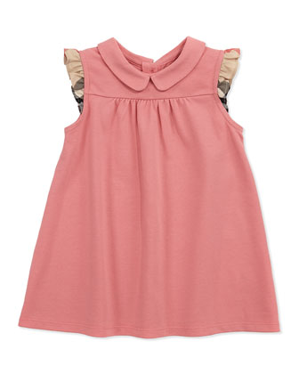Flutter-Check-Sleeve Dress, Pink, 3M-2Y