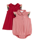 Girls' Pique Dress & Romper Set, Pink, 3-18 Months