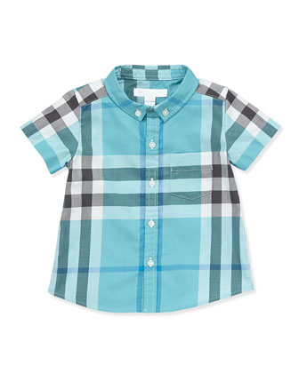 Short-Sleeve Check Shirt, Turquoise, 3M-3Y