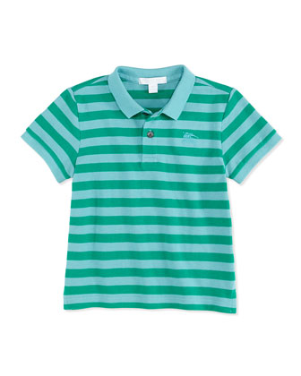 Striped Pique Polo, Green, 4Y-10Y