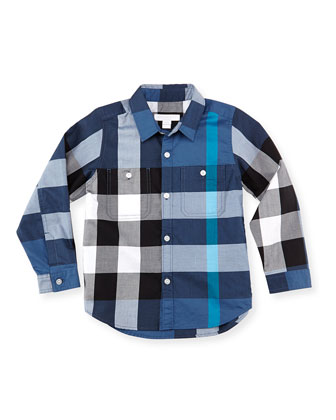 Boys' Check Button-Down Shirt, Dark Blue, 4Y-10Y