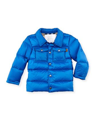 Boys' Puffer Coat, Blue, 4Y-10Y