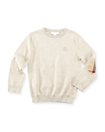 Boys' Knit Elbow-Patch Sweater, Taupe, 4Y-10Y