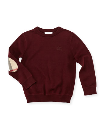 Boys' Knit Elbow-Patch Sweater, Dark Red, 4Y-10Y