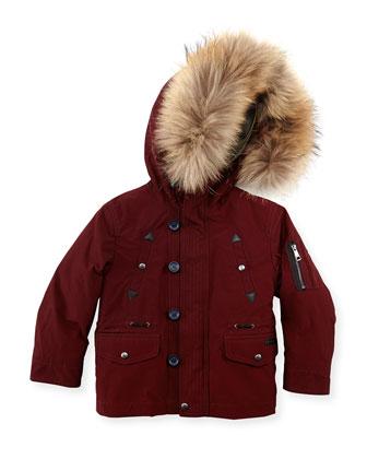 Boys' Fur-Trim Hooded Coat, Dark Red, 4Y-10Y
