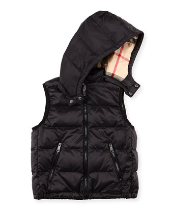 Boys' Hooded Puffer Vest, Black, 4Y-10Y
