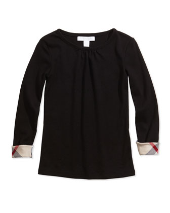 Check-Cuff Long-Sleeve Tee, Black, Girls' Sizes 4-14