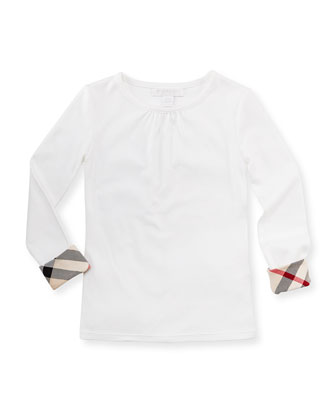 Long-Sleeve Check-Cuff Shirt, White, Girls' 4Y-10Y
