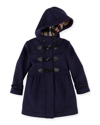 Girls' Hooded Wool Coat, Navy, 4Y-10Y