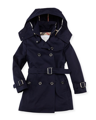 Cotton Twill Hooded Trench Coat, Navy, 4Y-10Y