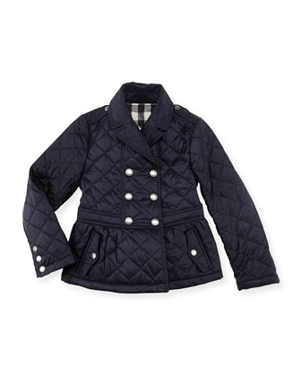 Girls' Quilted Double-Breasted Coat, Navy, 4Y-10Y