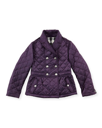 Girls' Quilted Double-Breasted Coat, Wine, 4Y-10Y