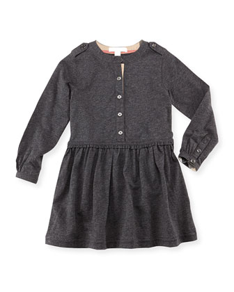 Long-Sleeve Knit Dress, Dark Gray, 4Y-10Y