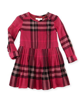 Plisse Long-Sleeve Check Dress, Fuchsia, 4Y-10Y