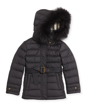 Girls' Fur-Trim Belted Puffer Coat, Black, 4Y-10Y