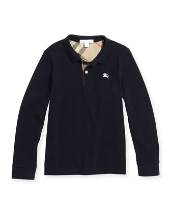 Pique Long-Sleeve Polo Shirt, Navy, Boys' 4Y-14