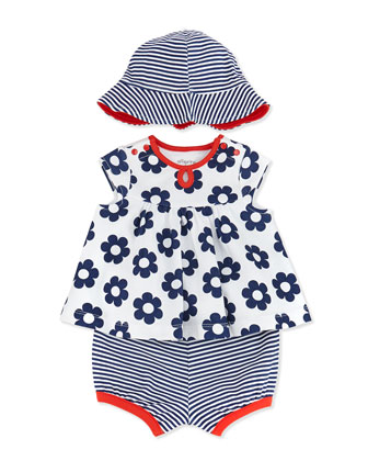 3-Piece Daisy-Print Dress, Diaper Cover & Hat Set, White, 3-24 Months