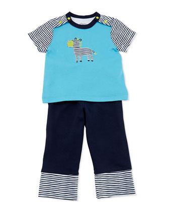 Zebra Tee & Pants Set, Black