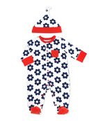 Two-Piece Daisy-Print Footie & Hat
