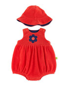 Two-Piece Terry Shortall & Hat, Red, 3-12 Months