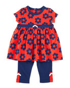 Daisy-Print Dress & Knit Leggings, Navy, 3-24 Months