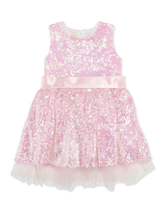 Sequin Party Dress, Pink, Girls' 8-10