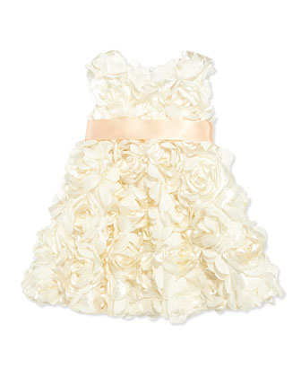 Bouquet Satin Dress, Champagne, Toddler Girls' 2T-3T