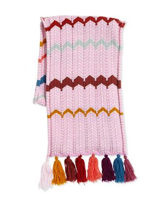 Kids' Zigzag Knit Tassel Scarf