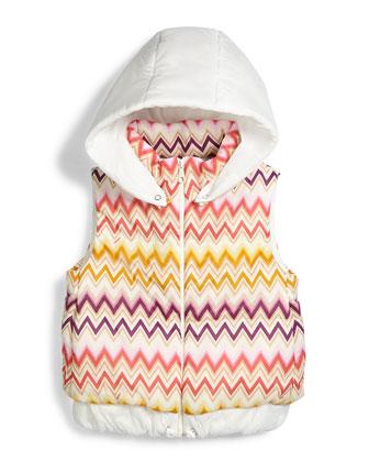 Zigzag Long Puffer Coat, Multi, Sizes 2-10