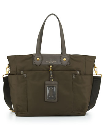 Preppy Nylon Eliz-A-Baby Diaper Bag, Dirty Martini