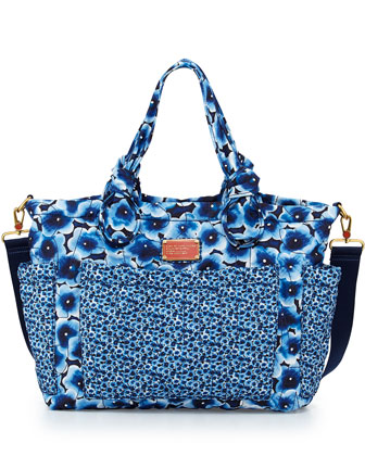 Pretty Nylon Floral-Print Diaper Bag, Blue Multi