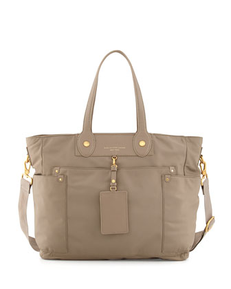 Preppy Nylon Eliz-A-Baby Diaper Bag, Beige