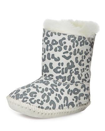 Infant Cassie Snow Leopard-Print Bootie