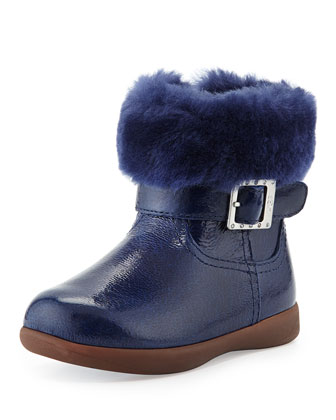 Toddler Gemma Patent Leather Boot, Smooth Blue, Sizes 6-10T