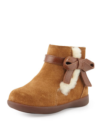 Libbie Suede Bootie with Bow, Chestnut