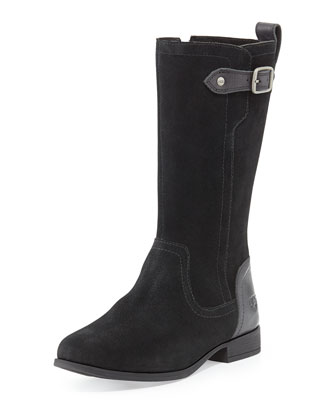 Kids' Morgan Suede Riding Boot, Black, Sizes 13T-6Y