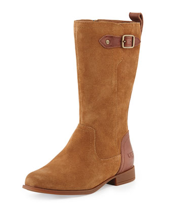 Kids' Morgan Suede Riding Boot, Chestnut, Sizes 13T-6Y