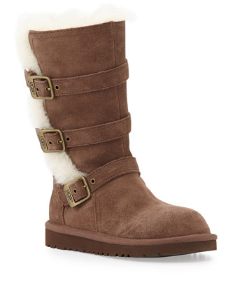 Maddi Triple-Buckle Tall Suede Boot, Chocolate, 10T-6Y
