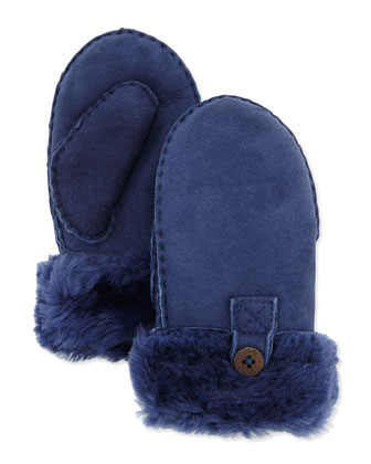 Button-Detail Mittens, Peacoat, Kids' 2-6Y