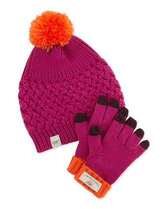 Knit Hat & Glove Set, Victorian Pink, 4Y-6Y