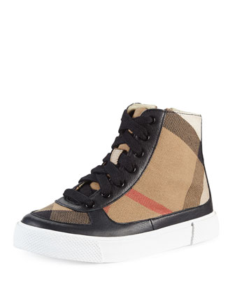Canvas/Leather Hi-Top Sneaker, Black, Kids'