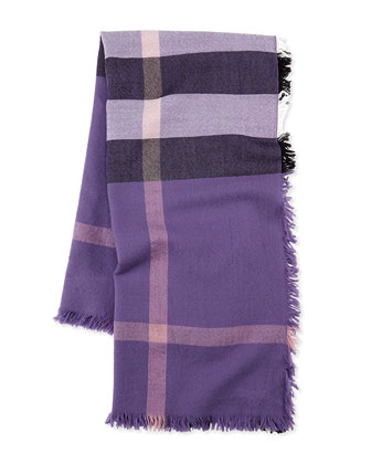Girls' Check Voile Scarf, Purple
