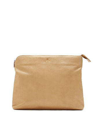 Luca Baby Carryall Leather Pouch, Nude