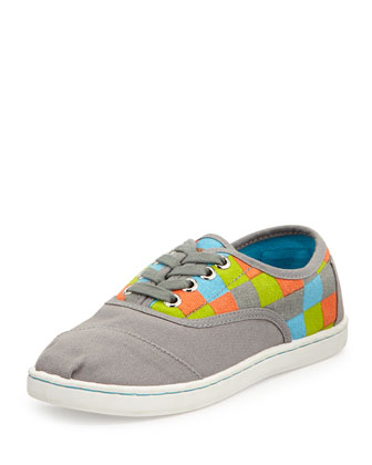 Checkered-Print Cordones, Gray, Youth