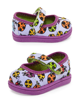 Ladybug Print Mary Janes, Purple, Tiny