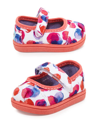 Water-Dot Print Mary Janes, Pink Multi, Tiny