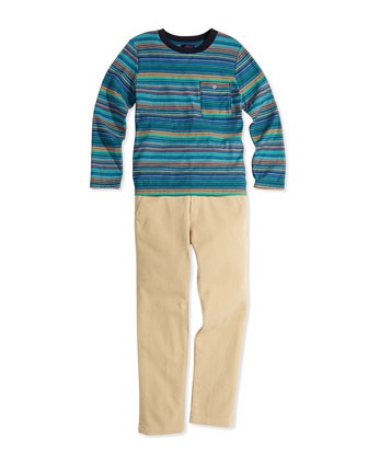 Long-Sleeve Striped Tee, Boys' 8-12