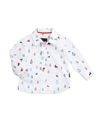 Penguin/Walrus-Print Sport Shirt, Boys' 3M-3T