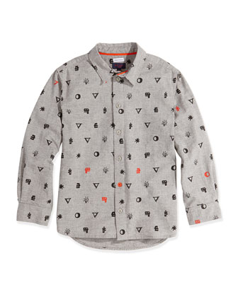 Graphic-Print Button-Down Shirt, Sizes 8-12