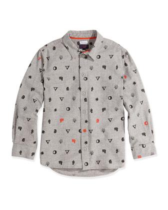 Graphic-Print Button-Down Shirt, Sizes 8-12